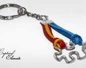 Autism awareness | puzzle charm | key chain | key ring | leather cord | autism key chain