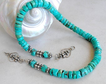 Turquoise Necklace Sterling Silver Ethnic Southwestern Metaphysical Healing Stone