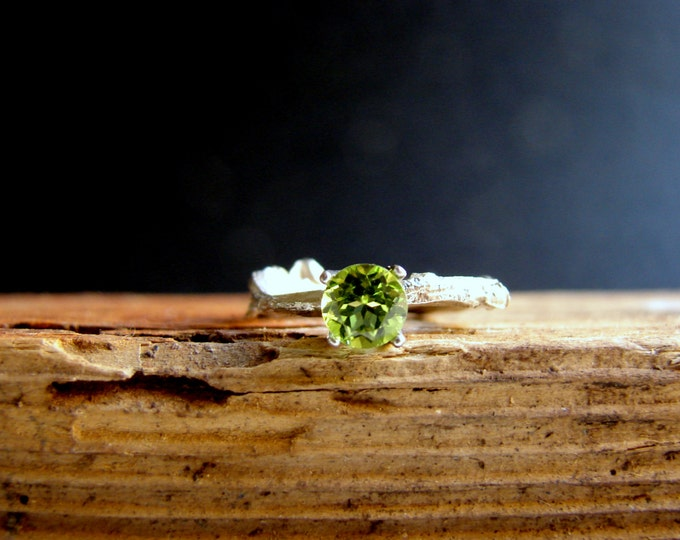Peridot Gemstone Branch Jewelry  Twig Ring Engagement Ring Sterling Silver Botanical Ring August Birthdays  Leo Birthstone