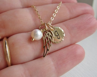 Remembrance necklace, angel baby gold initial necklace, angel wing charm, custom birthstone, gold, silver, sympathy gift, mothers necklace