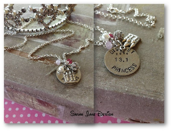PRINCESS Stamped Necklace, Running Jewelry, Run Disney, 13.1, princess half jewelry, half marathon, princess, runner