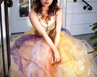 Adult tutu skirt Streamer floor length formal bridal Fairy gold sunset halloween prom wedding --Small -Ready to Ship -- Sisters of the Moon