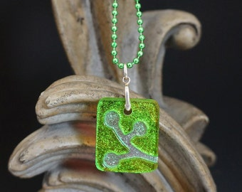 Berries Lime Green Carved Dichroic Glass Pendant - FREE SHIPPING!