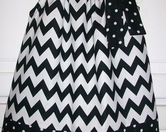 Pillowcase Dress Chevron dress Black and White Girls Dress Chevron and Dots Classic Fall dress Wedding Kids Clothes baby dress toddler dress