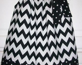 SALE Pillowcase Dress Chevron dress Black and White Girls Dress Dots Classic Spring dress Wedding Kids Clothes baby dress toddler dress
