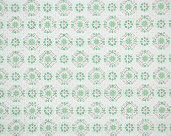 1950's Vintage Wallpaper - Pink and Green Geometric