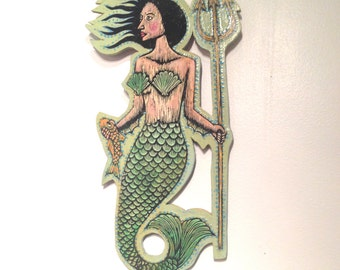 Mermaid Art, Nautical Wall Art, Mermaid Woodcut Painting, Mermaid ready to hang wall decor, Beach House Decor