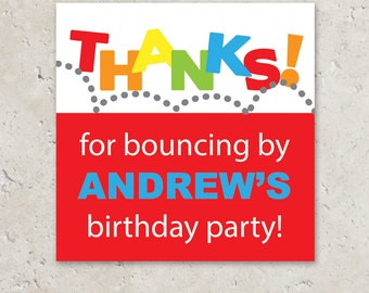 Stickers Gift Tags . Bounce Birthday Party . for Favors, Treat Bags and Envelope Seals