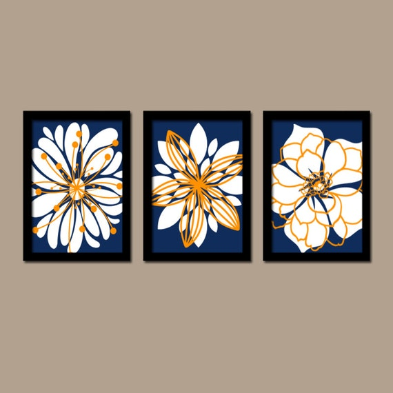 Navy orange wall art canvas or prints orange blue bathroom for Orange wall art