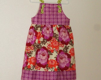 Girls Fall Apron Knot Dress Purple Cabage Roses Ready to ship size 4 sample sale