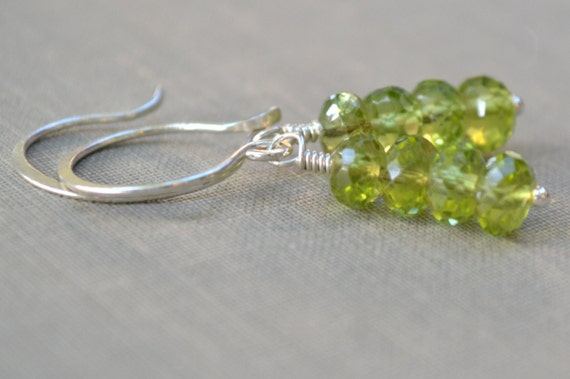 Peridot Gemstone Earrings, Hammered Sterling Silver French Hooks, Stacked Genuine Peridot Gemstone, Green Earrings, Bridal Collection