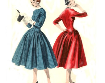 1950s Extended Bodice Dress Full Skirt Turtle Neck / Round Neckline - Vintage Sewing Pattern Butterick 7497 - Size 16 / Bust 34