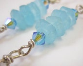 Light Blue and Smokey Crystal Drop Earrings, Free Shipping, Laura Mae Jewelry