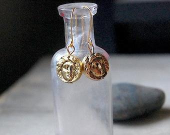 Roman - Earrings, Gold, Exotic, Old World, Roman Face