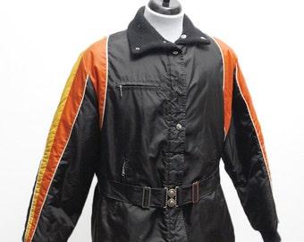 Men's Coat / Vintage Winter Jacket / Screen Printed Old School Race Car / Size Medium