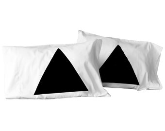 Pyramid Pillowcase Set -modern minimal home decor -  anniversary gift for couples - geometric pillow cases - triangles - black and white