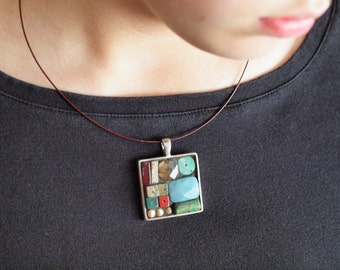 Geometric Mosaic Necklace - Colorful Turquoise, Coral, Multi Semiprecious Stone Pendant One of a Kind Jewelry Pretty Best Friend Gift