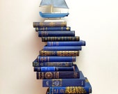 Navy and Gold Books,Nautical,Book Lot,Book Theme Wedding,Vintage Book Decor,Ornate Blue,Royal Blue,Book Collection,Photo Prop,Kids room
