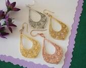 Flower Hoop Earrings, Gold, Rose Gold, Sterling Silver, Earrings, SIlver Earrings, Gold Earrings, Pink Gold