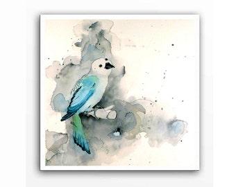 Child's Nursary Art / Original Watercolor Painting / Turquoise animal art / Child's play room decor / Todlers baby nursary art / 9.5 x 9.5 N