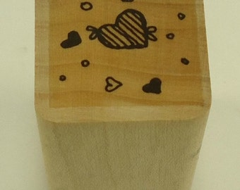 Hearts Wood Mounted Rubber Stamp