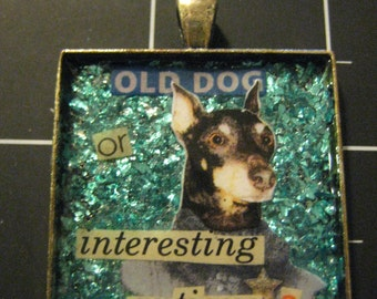 Old Dog or Interesting Antique? Pendant, Well Dressed Doberman, 50% goes to the current selected animal charity
