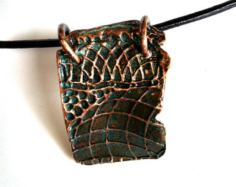 Pendant Deeply Textured Copper