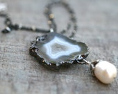 Gray and White Agate Geode Slice, Oxidized Sterling Silver Chain Necklace 16 Inches