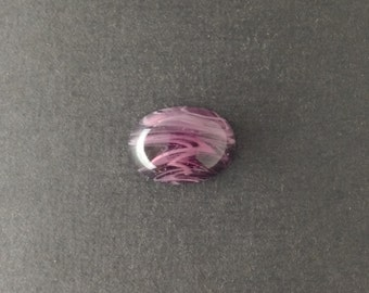 Vintage Purple and White Swirled Glass Cabochons 25x18mm cab857