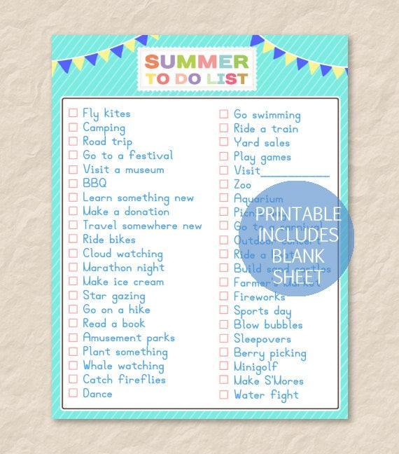printable summer to do listprintable summer bucket. Black Bedroom Furniture Sets. Home Design Ideas