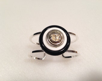 Vintage and Repurposed Jewelry and button Bangle Nautical