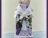 Peace Handmade Mixed Media Victorian Collage Art Doll Decoration With Paper-Clay Face