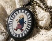 Oval Circus Bear Locket - Circus Locket - Bear Locket - Oval Locket - Brass Locket - Animal Locket