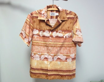 Vintage 80s Malahini Hawaiian Shirt Tapa Cloth Shell Stamp Print in Neutral Tans Size large
