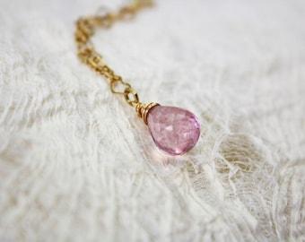 Pink mystic quartz necklace. 16 carat rose gold plated Necklace pink mystic quartz.