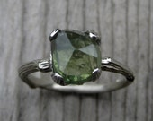 Green Sapphire Twig Engagement Ring: 2.75ct, Rose Cut, White Gold