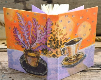 The Art of Tea. Teacup with Purple Fern. Handbound journal sketchbook notebook for poetry recipes creativity and gratitude. Exclusive design
