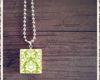 Scrabble Tile Art Pendant - Green Velvet Damask - Scrabble Necklace Charm - Customize