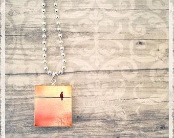 Scrabble Art Pendant - Bitty Bird On A Wire Pomegranate - Scrabble Jewelry Charm - Customize