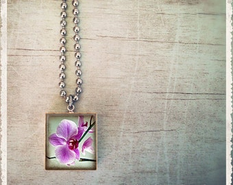 Scrabble Tile Pendant Necklace - Beautiful Orchid - Scrabble Jewelry Charm - Customize - Choose Your Style