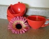 Bright Orangish Red Melomine Plastic Coffee Tea Cup Set 4 pc