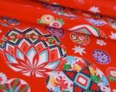 Vintage Japanese Kimono Fabric - Temari Balls on Orange