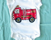 Fire Truck Baby onesie- Fire Engine Shirt - Fireman Baby Outfit - Painted Baby Shirt-  Your Choice of Size