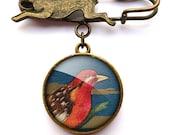Crimson Bird Hare Pin Brooch (TB01)