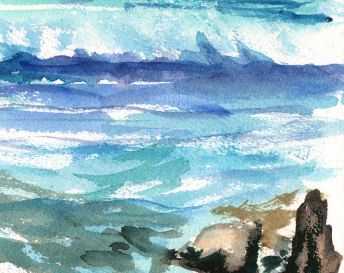 Beach and Lava Rocks Original Watercolor Painting from Kauai Hawaii blue teal turquoise aqua brownsand green