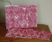 "Heart Pattern Card // 5x7"" Block Print Card"