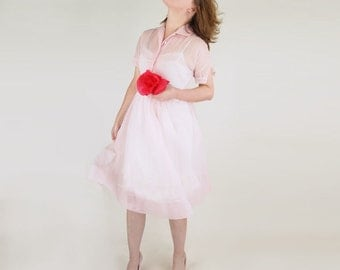 50s Sheer Pink Dotted Swiss Dress with Sweet Details S M