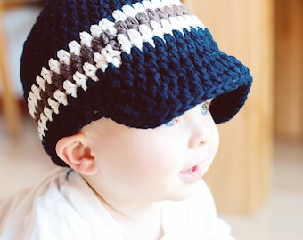 9 Sizes Boys Hat Baby Hat Baby Boy Hat Toddler Hat Toddler Boy Hat Mens Hat Navy Blue Ecru Brown Winter Hat Boys Beanie Boys Cap Crochet Hat
