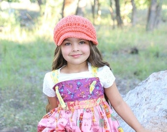 Baby Girl Newsboy Cap 9 to 12 Month Baby Newsboy Hat Baby Hat Baby Girl Hat Tangerine Newsboy Crochet Newsboy Baby Girl Clothes Winter Hat