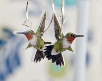 Hummingbird earrings, cute bird earrings, little bird dangles - ruby-throated hummingbird